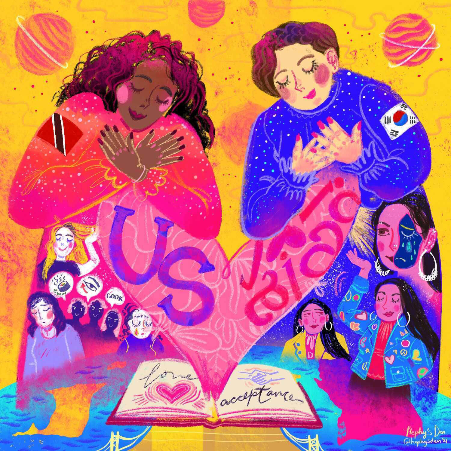 An image of two women connecting over an open book of poetry with words like love and acceptance