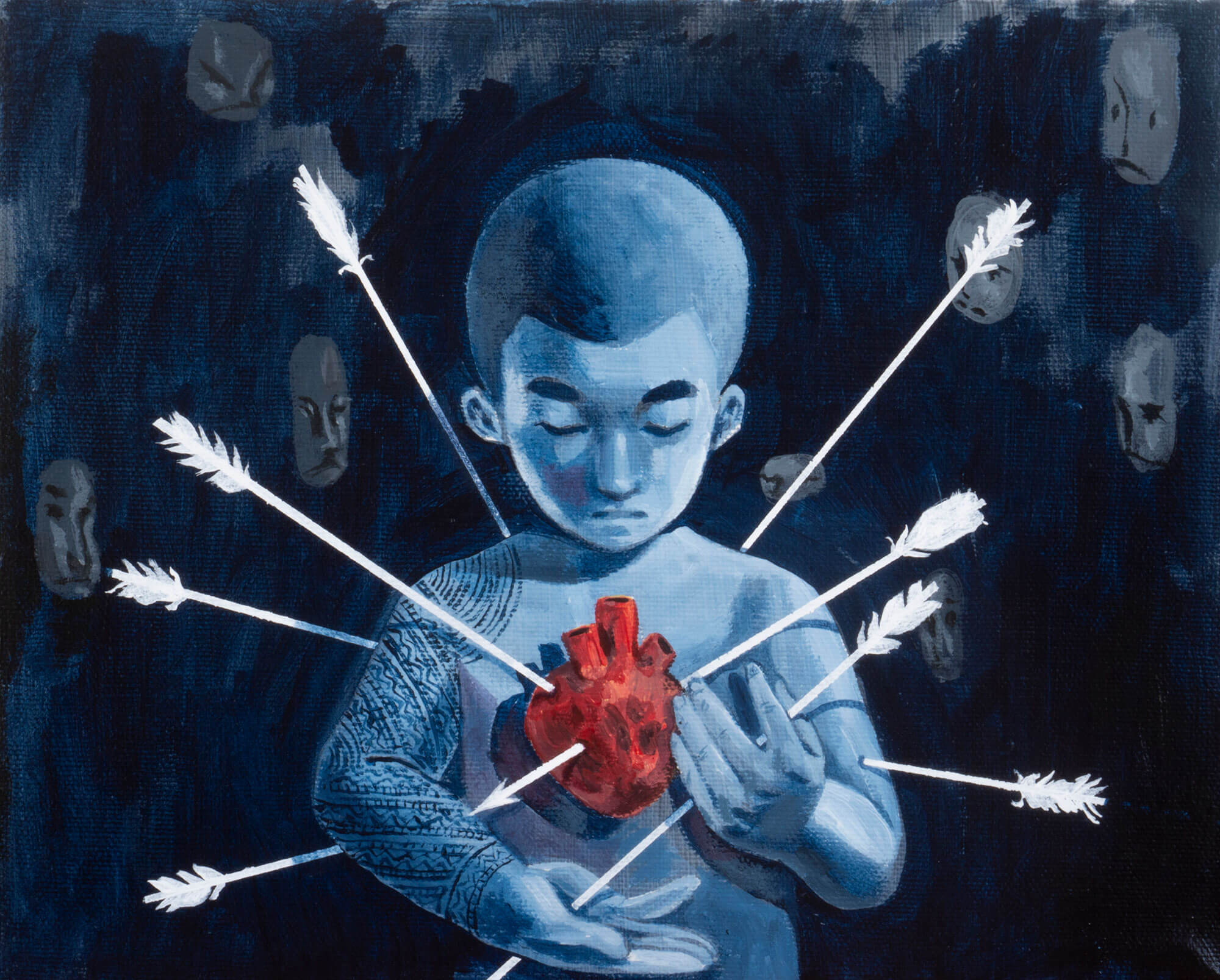 A painting of a ghost with a red heart outside of his body; arrows pierce his body and heart from all angles. In the background, misc. faces surround him.