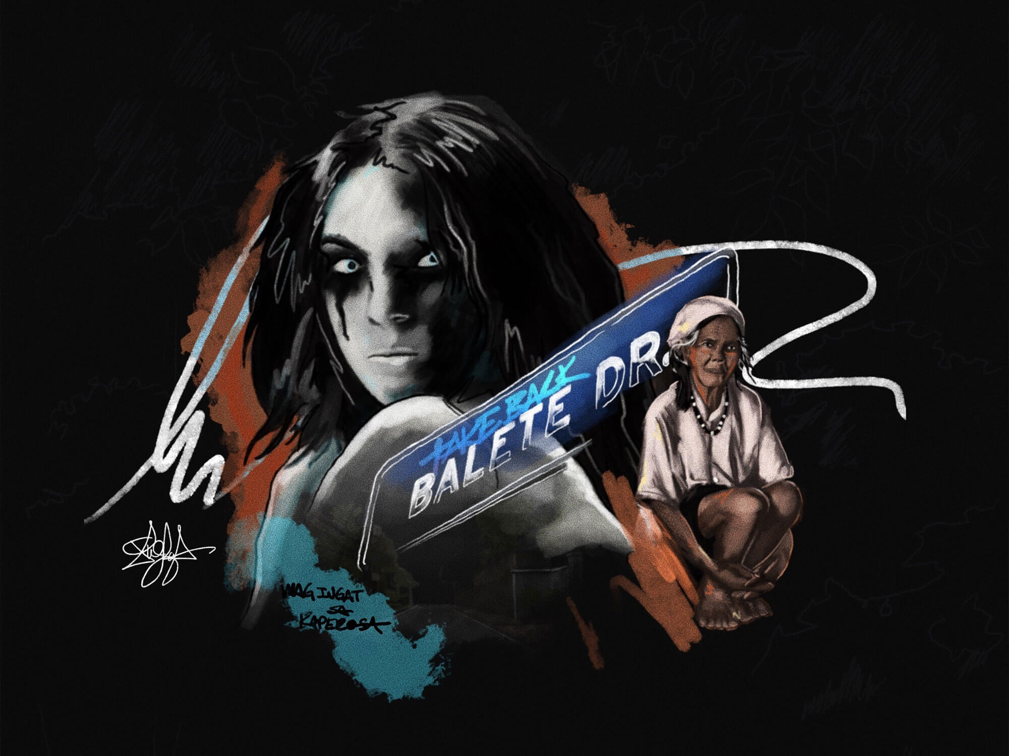 """An illustration featuring a white woman's ghost, a brown-skinned woman with white hair, and the text """"Take Back Balete Drive"""""""