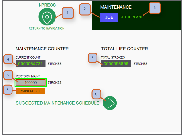 MAINTENANCE & LIFE COUNTER SCREEN 1