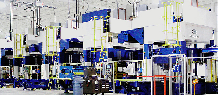 Sutherland Presses Tandem hydraulic press line