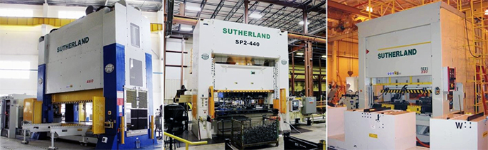 three Sutherland Presses Mechanical Presses