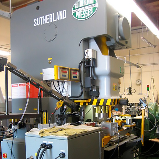 Sutherland SP1 Unitized Box and Tie Rod Frame Single Point Straight Side Heavy Duty Mechanical Stamping Press Machine