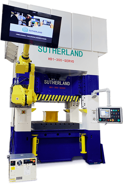 Hydraulic servo press and Fanuc robot