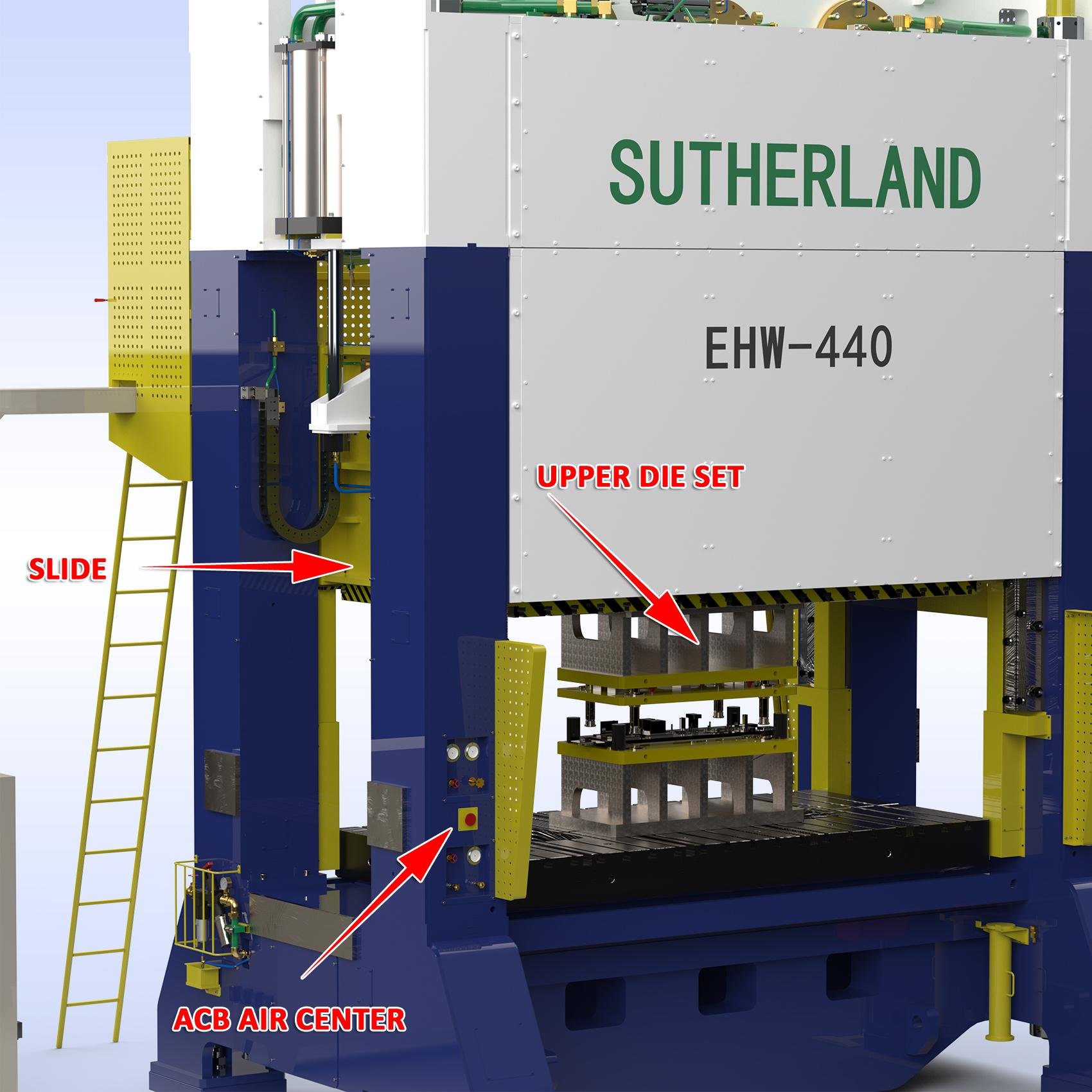 Sample slide, upper die weight & ACB air center