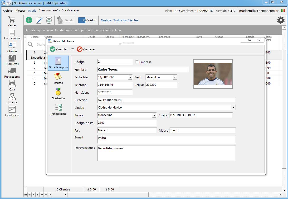 NEXTAR ofrece un completo registro de clientes con la información más relevante.