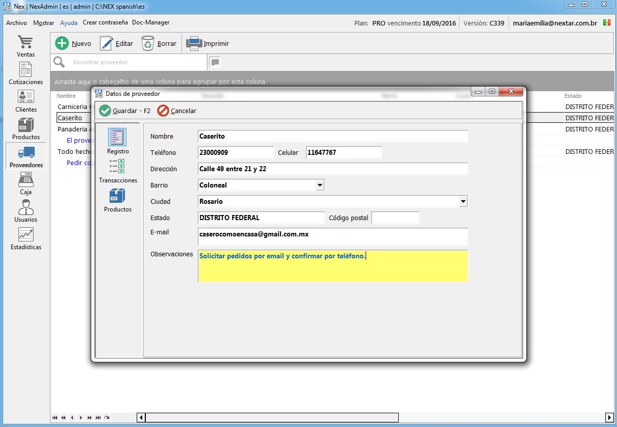 Registre sus proveedores con los datos más importantes: nombre, teléfono, email, dirección.