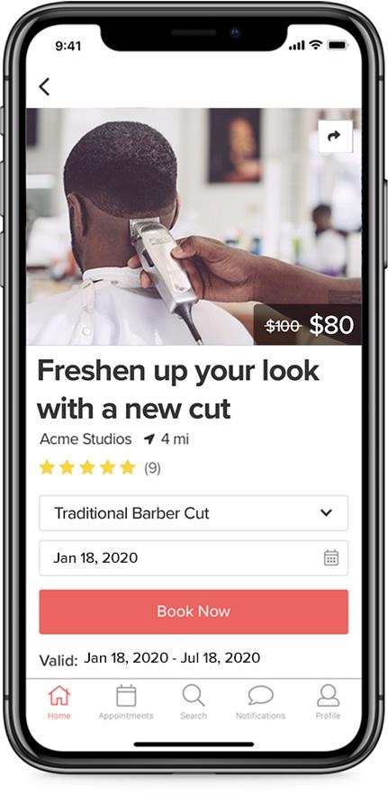 Vagaro Barber App Appointment Screen