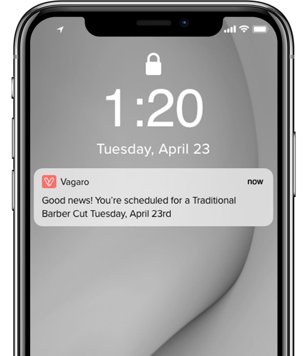 Vagaro Notifications via Email, Text or Push