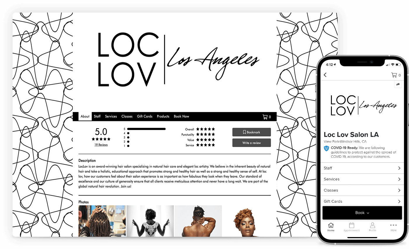 integrated website builder and branded mobile app for salons and spas