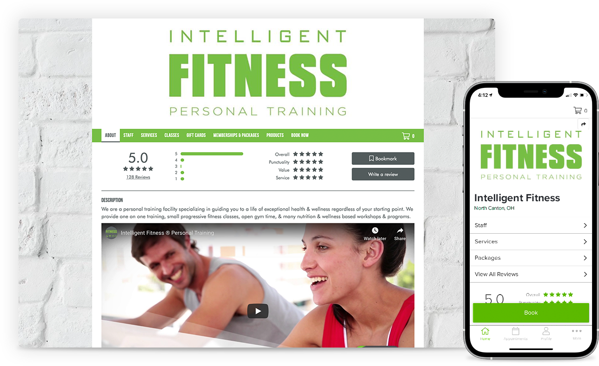 branded website and app for personal training business with progress photos
