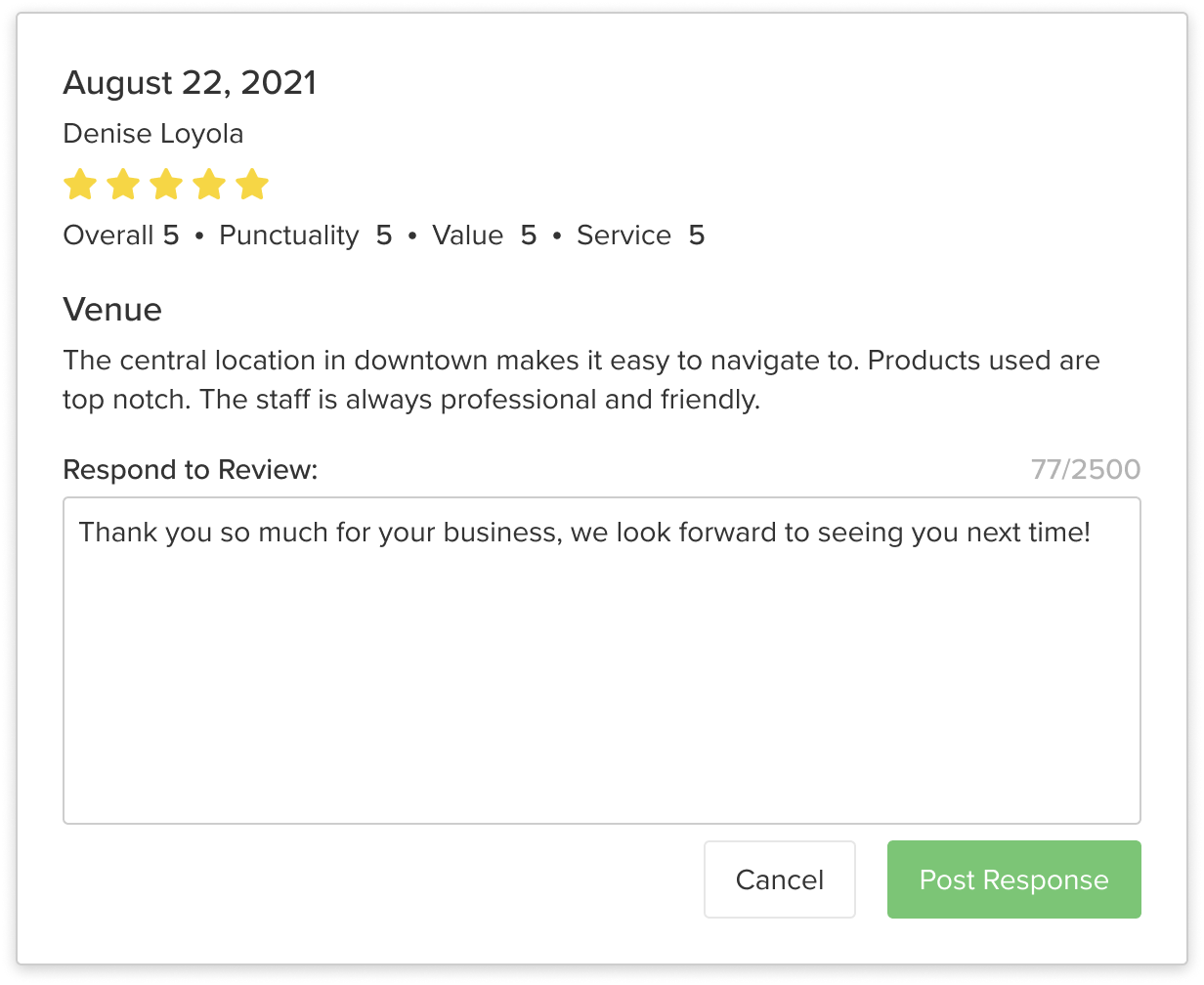 A business responds to a 5 star review left by a customer.