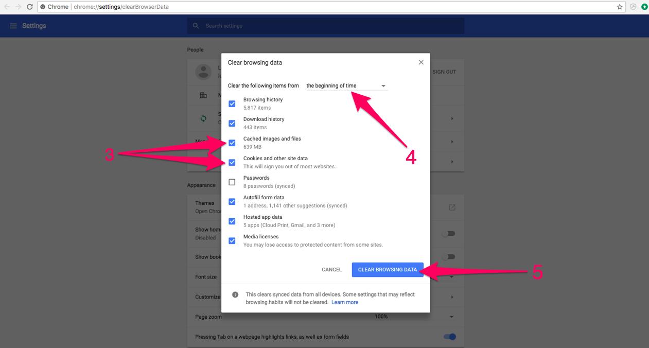Clear Cache on Google Chrome with LiveSchool