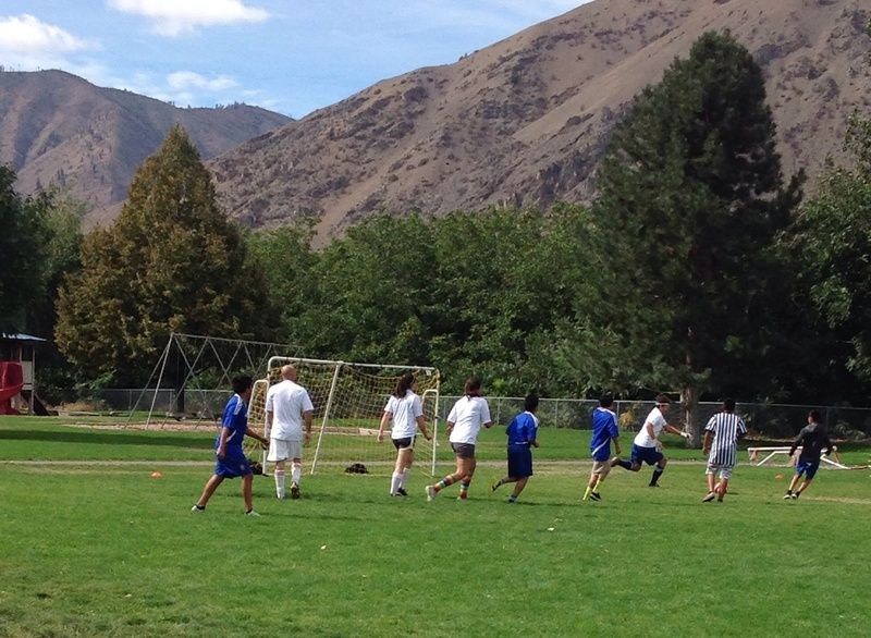 Action photo from the student-faculty soccer game