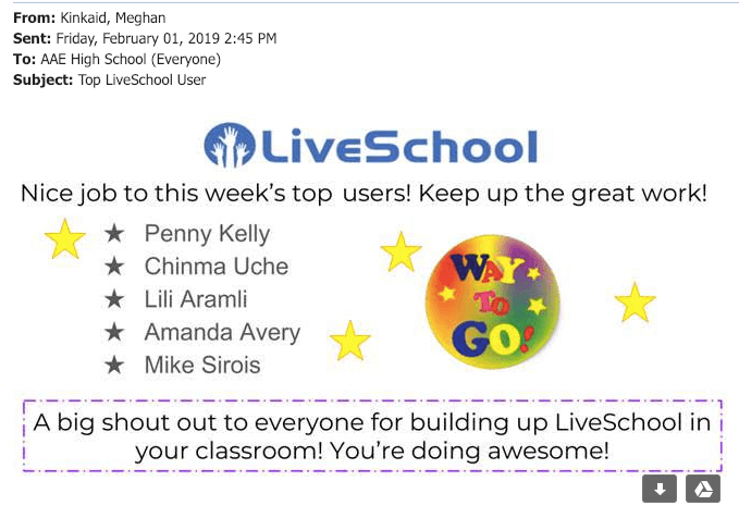 "An email showing LiveSchool, ""Nice job to this week's top users! Keep up the great work!"" with five teacher names and more"