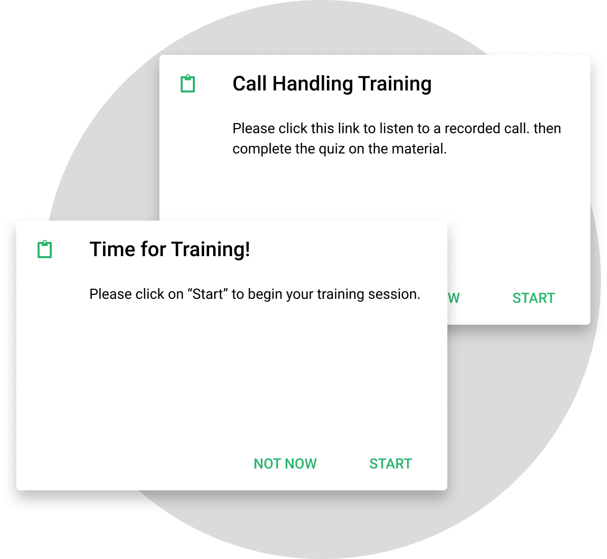 call handling and time for training notification