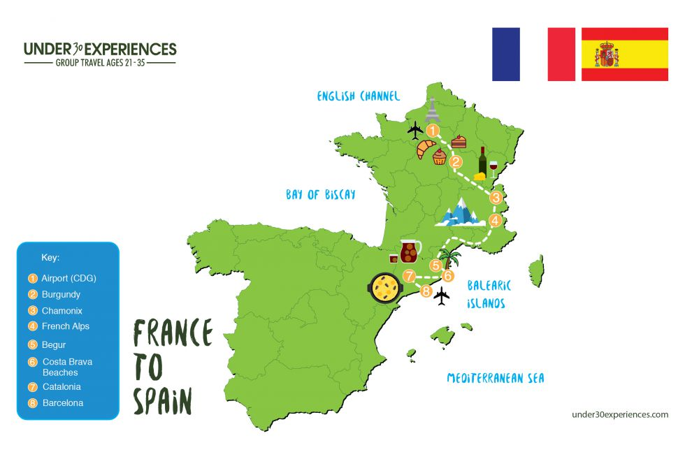 Map Of France With Key.France To Spain Trip Itinerary