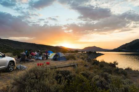 Camp setup with essential camping gear