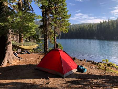 Camping near a lake in the northeastern United States