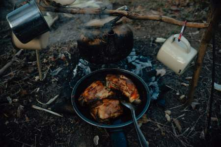 Camping menu, camping meals, cooking over a fire