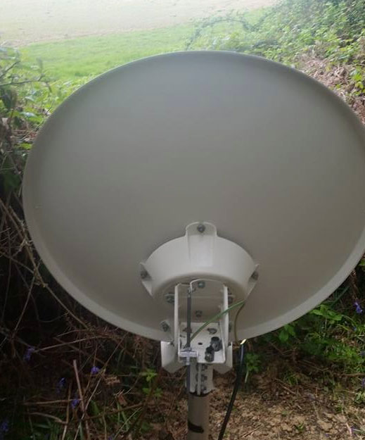 A picture of a satellite broadband dish