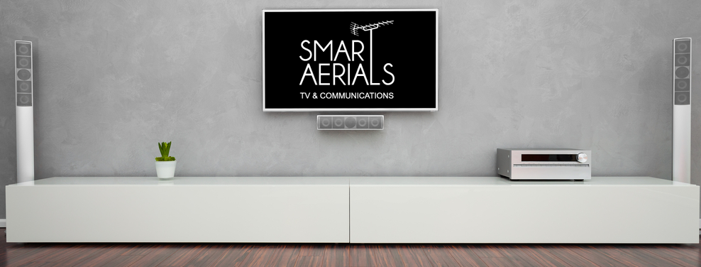 A picture of a TV on wall with Smart Aerials logo on TV
