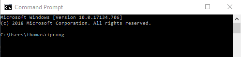 IP config in Command Prompt
