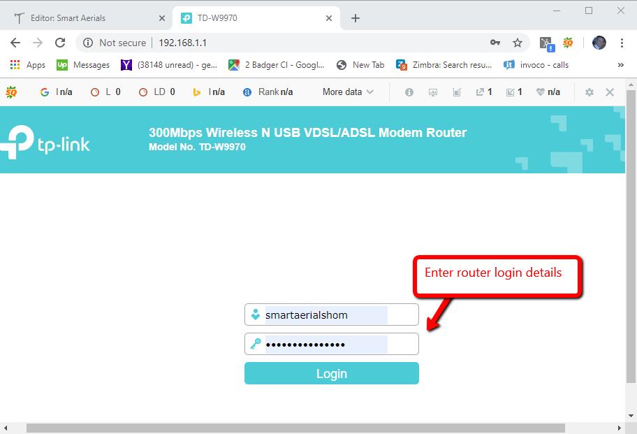 TP-Link router login screen