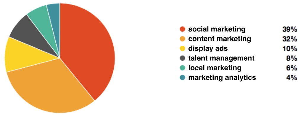 Pie chart of the midshare for martech segments accrording to marketing leaders