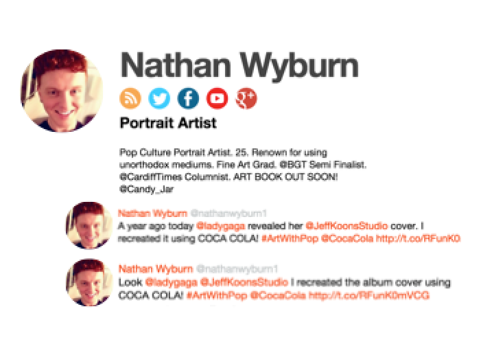 Influencer discovery for Coca-Cola: Nathan Wyburn's social presence