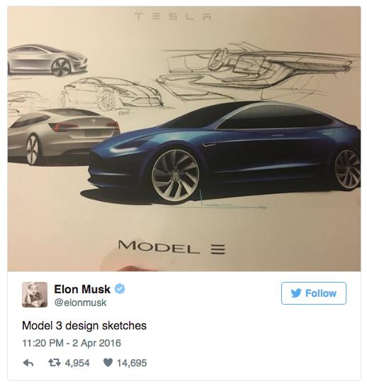 Model 3 design sketches - Elon Musk via Twitter