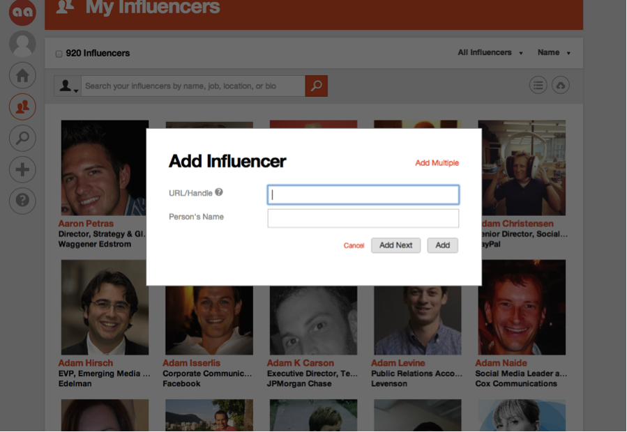 Influencer discovery on Traackr App