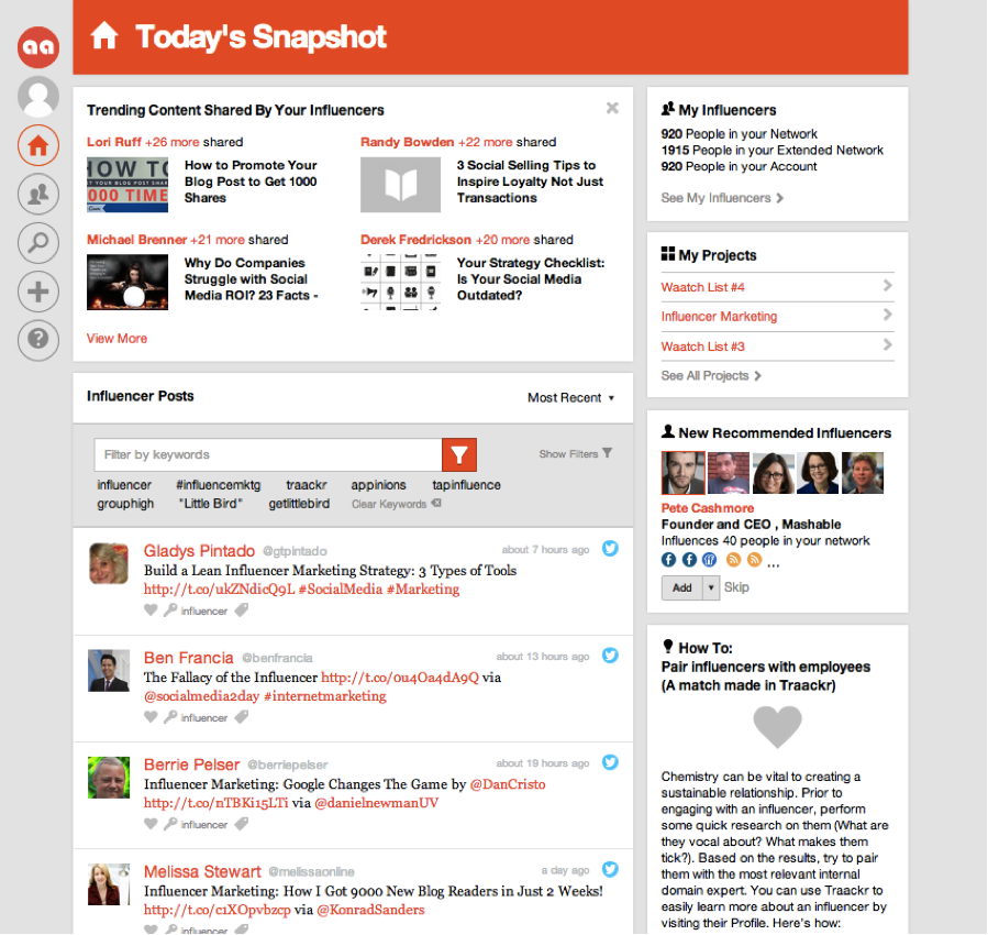 Trending content by your influencers
