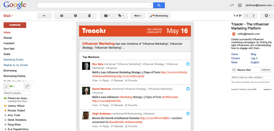 Traackr Highlights email
