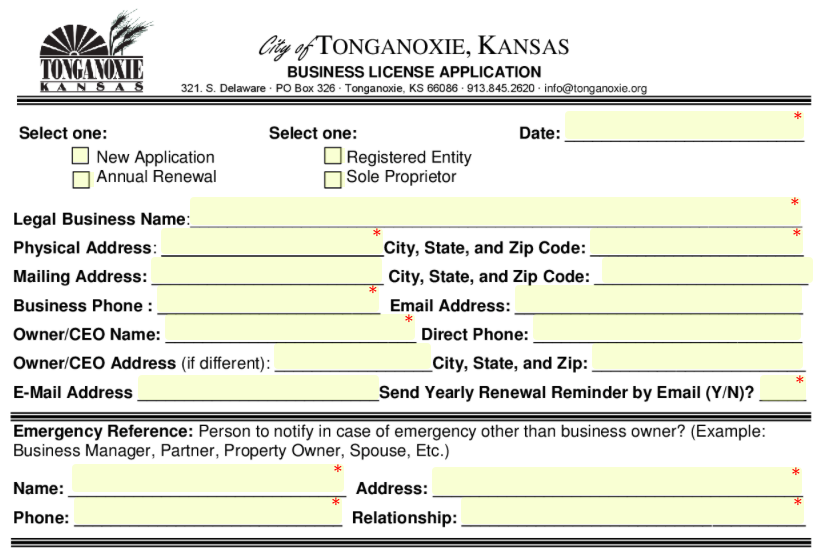 Business License in Tonganoxie | SeamlessGov Top Forms