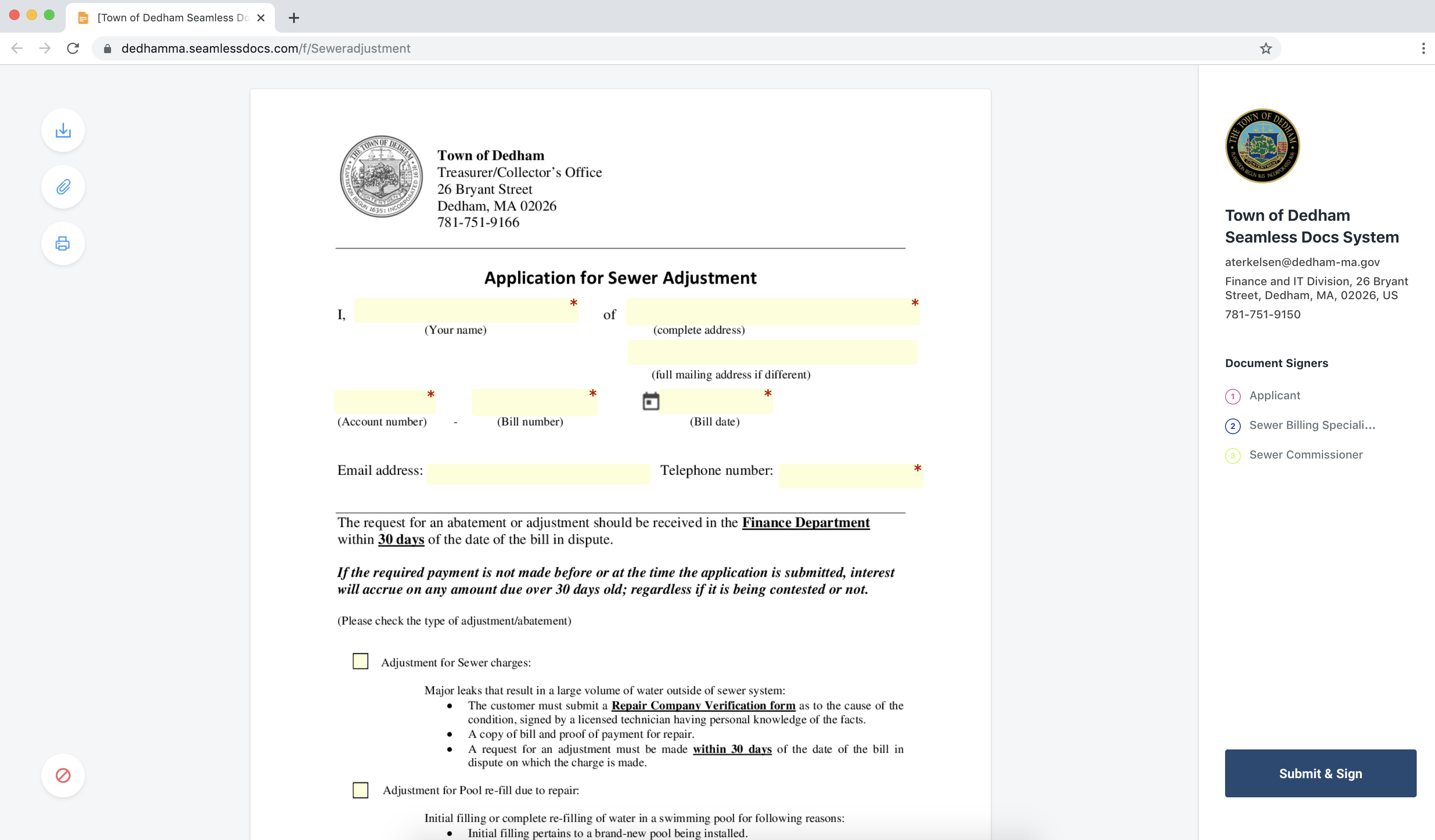 An example of an online government form created using Kofile.