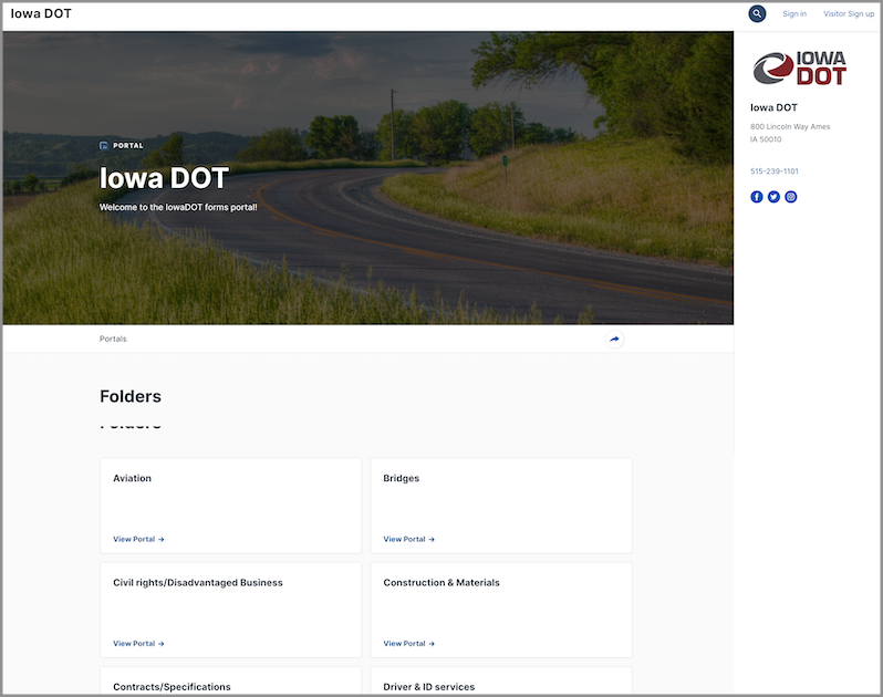 The new Iowa DOT forms portal providing citizens of Iowa with more online government services.