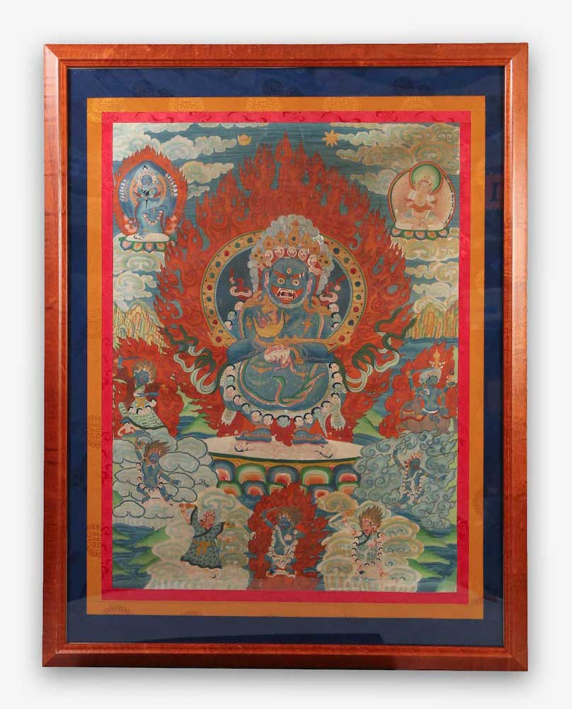 Tibetan Thangka Mahakali within Red Frames 20th Century