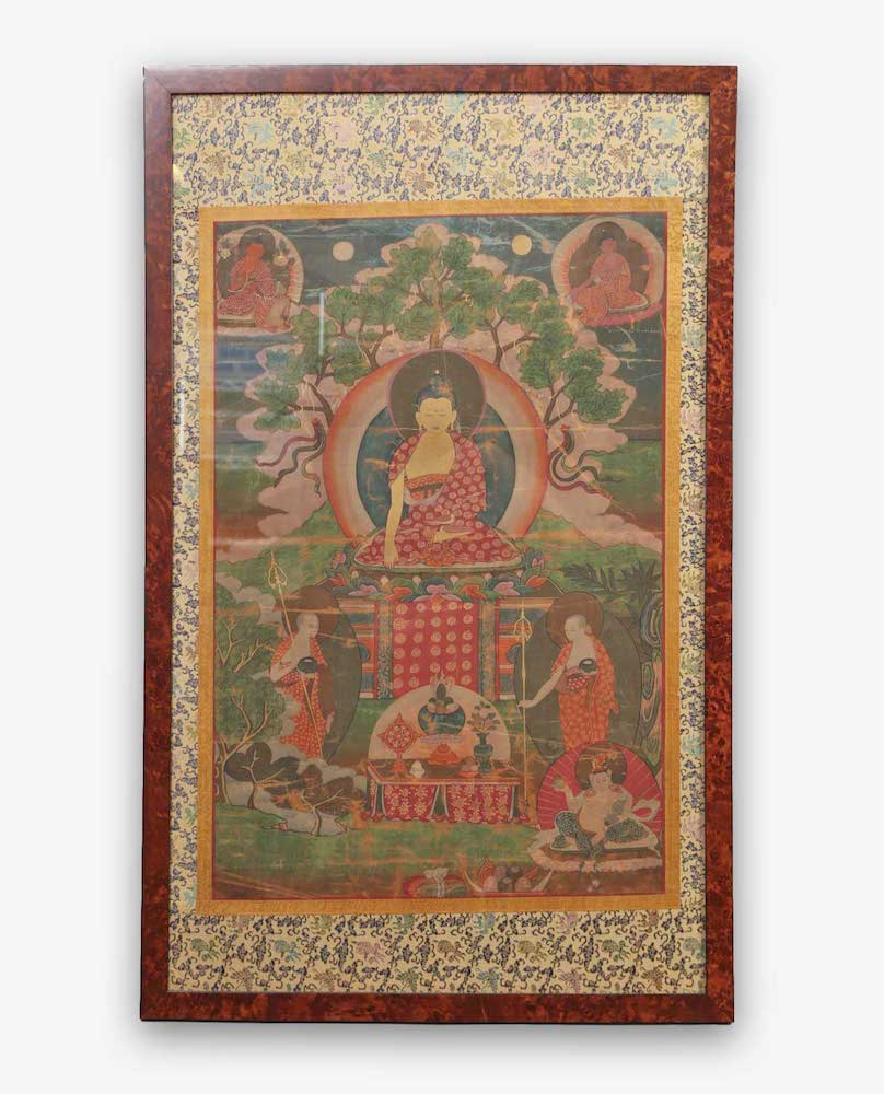 Tibetan Thangka Buddha Beneath the Bodhi Tree late 19th/20th Century