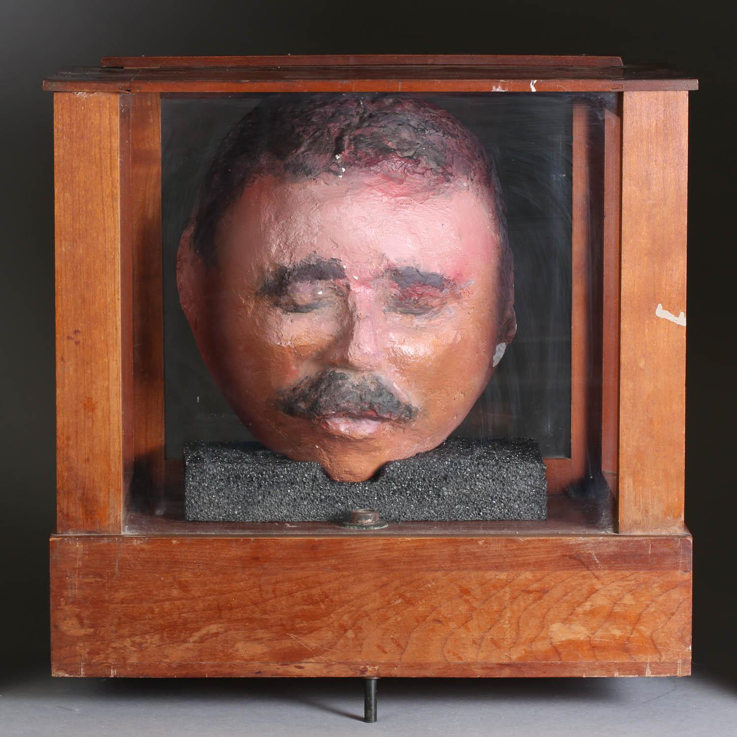 Pancho Villa Plaster Cast Death Mask and Display Case, Ca. 1984,New York Auction House, Houston Auction, Dallas Auction, San Antonio,