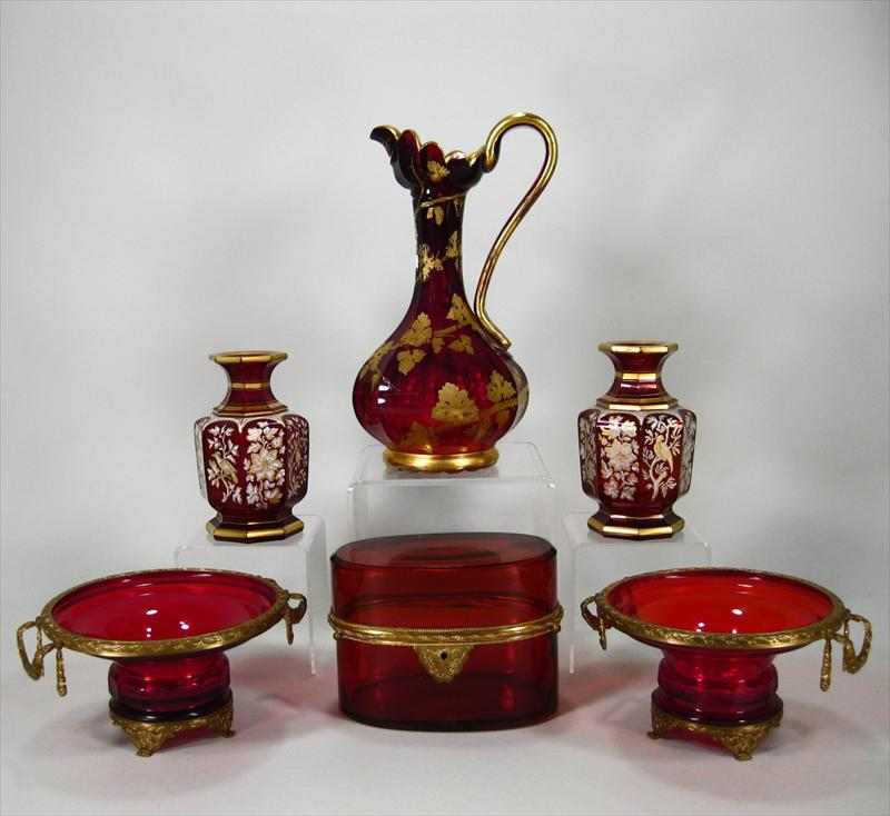 Group of 6 Red Glass Tablewares Late 19th/Early 20th Victorian gilt metal mounted tazza oblong hinged box pitcher, New York Auction House, Houston Auction, Dallas Auction, San Antonio,