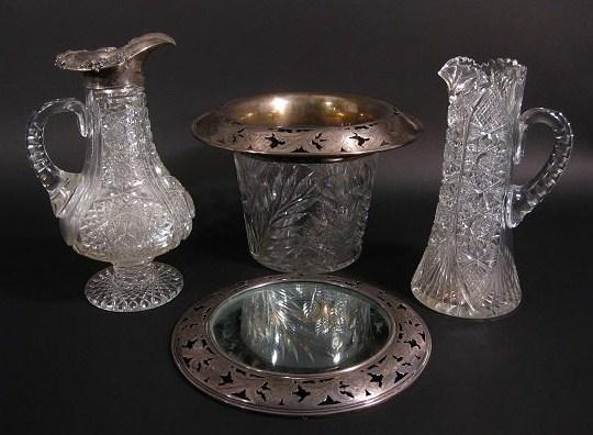 4 Pieces of American Cut Glass 19th C. 3 with Sterling Silver Mounts with hand-chased floral design, New York Auction House, Houston Auction, Dallas Auction, San Antonio,