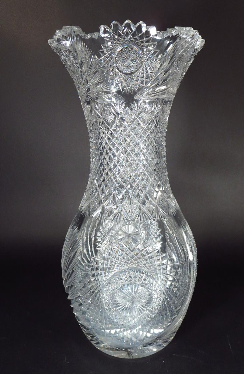 Large Cut Glass Vase American Early 20th C,New York Auction House, Houston Auction, Dallas Auction, San Antonio,