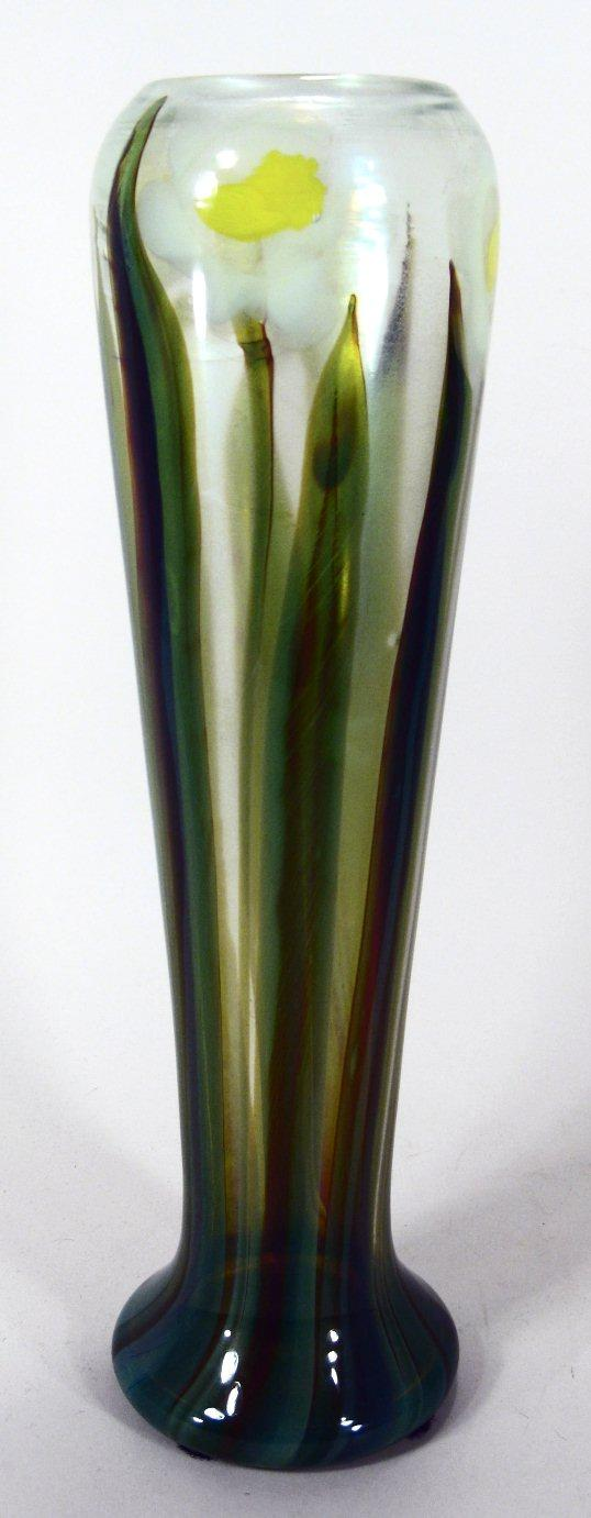 Tiffany Favrile Glass Paperweight Vase with Daffodil Decoration Early 20th C,New York Auction House, Houston Auction, Dallas Auction, San Antonio,