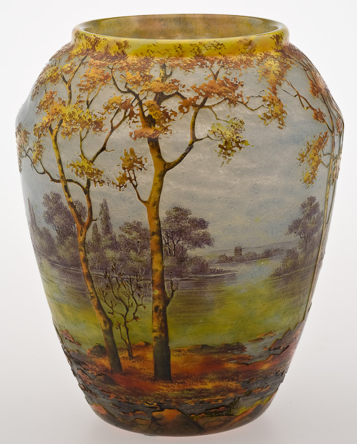 Daum Nancy Fall Scene Cameo Glass Vase  trees in tones of yellow and orange along a river accented with green and yellow against a blue sky,New York Auction House, Houston Auction, Dallas Auction, San Antonio,