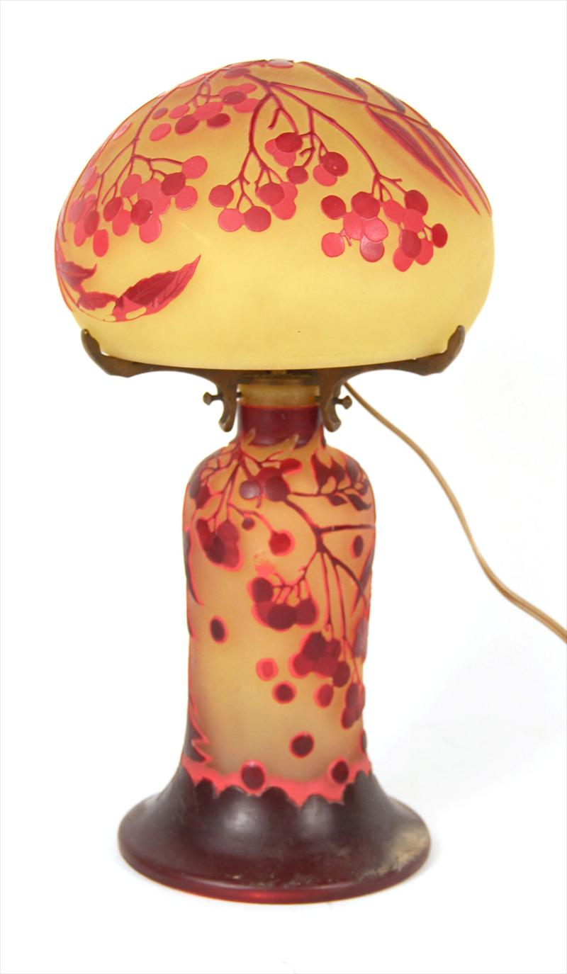Cameo Glass Table Lamp and Shade French 20th C,New York Auction House, Houston Auction, Dallas Auction, San Antonio,