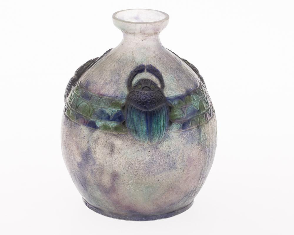 Gabriel Argy Rousseau (French, 1885-1953), Pate de Verre Glass Vase Decorated with Scarabs ,New York Auction House, Houston Auction, Dallas Auction, San Antonio,