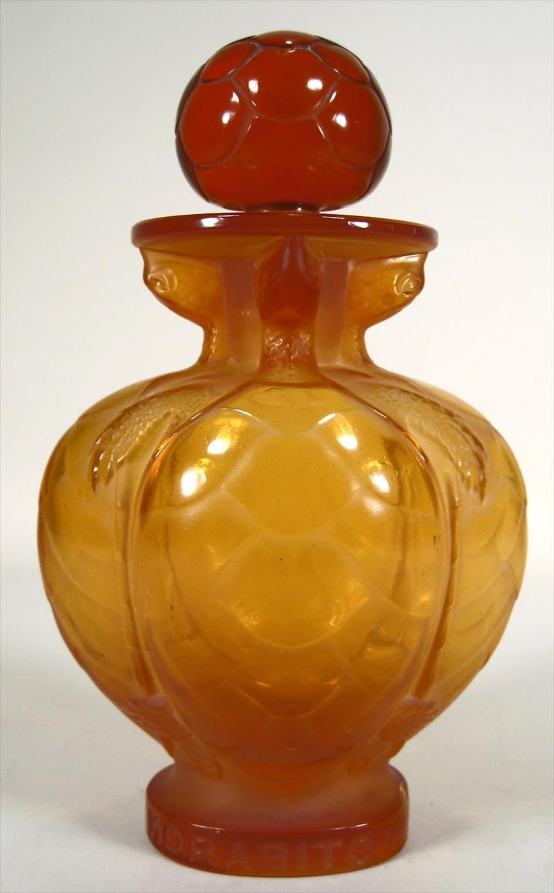 Lalique Amber Glass 'Morabito Paris' Terrapin Form Perfume Bottle French,New York Auction House, Houston Auction, Dallas Auction, San Antonio,