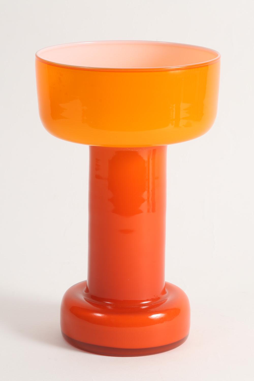 European Orange Cased Glass Vase Late 20th Century ,New York Auction House, Houston Auction, Dallas Auction, San Antonio,