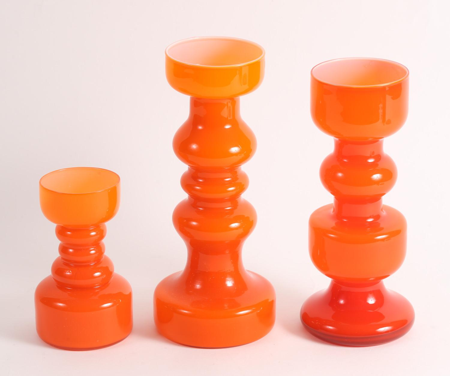 Three Similar Shaped Orange Cased Glass Vases Mid to Late 20th Century,New York Auction House, Houston Auction, Dallas Auction, San Antonio,